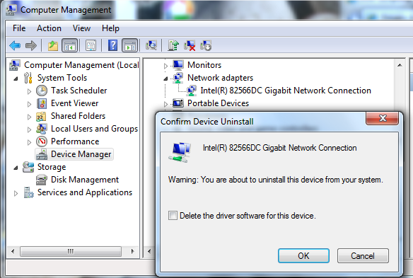 Uninstall Network Drivers Screen